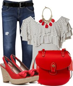 Gray White Stripes Red Jeans Outfit