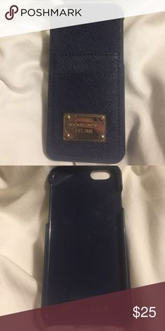 Michael Kors Saffiano Leather pocket iphone 6 case MICHAEL Michael Kors Saffiano Leather Pocket iPhone 6 Case in Navy MICHAEL Michael Kors Accessories Phone Cases