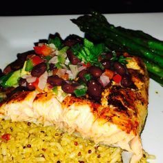 Unique Luxury Catering - Scottsdale, AZ, United States. Grilled Atlantic Salmon with Black Bean Jalapeno Salsa   Roasted Red Pepper and Basil Quinoa   Grilled Asparagus