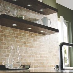 Ideas for Kitchen Revamp - Travertine Brick Mosaic Wall Tile - Mosaic Tiles - Decorative Tiles -Tiles & Flooring - Wickes Backsplash For White Cabinets, Stone Backsplash, Kitchen Wall Tiles, Kitchen Backsplash, Brick Floor Kitchen, Kitchen Mosaic, Kitchen Tiles Design, Kitchen Designs, Style At Home