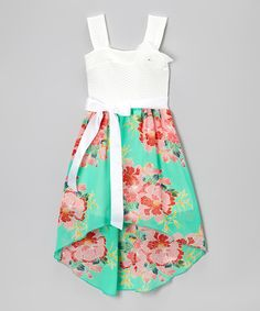 Take a look at the Mint Floral Sash Dress on #zulily today!