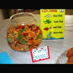 "Dr Seuss - Healthier snack for ""One Fish, Two Fish, Red Fish, Blue Fish. Dr. Seuss, Dr Seuss Week, Math Classroom, Kindergarten Math, Classroom Activities, Teaching Math, Book Activities, Classroom Ideas, Teaching Ideas"
