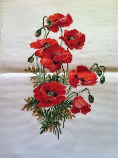 COMPLETED CROSS STITCH RED POPPIES - NEW FINISHED CROSS STITCH FLOWERS