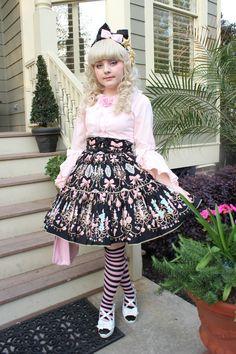 Old School Sweet Lolita Pink + Black Coordinate.