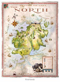 """Map illustration by Michael Gellatly of the fictional land of The North from George R. Martin's Game of Thrones """"The North"""". Map illustration by Michael Gellatly Vintage Carnival Games, Ser Jorah Mormont, Game Of Thrones Map, Westeros Map, Got Map, Fantasy World Map, Map Games, Jaime Lannister, Fire And Ice"""