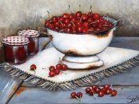Art by Stella Bruwer white enamel footed bowl of cherries on white fringed mat 2 jars with gingham lids Ceramic Painting, Diy Painting, Stella Art, Recipe Scrapbook, Decoupage Vintage, Country Paintings, Jewish Art, Still Life Art, Fruit Art