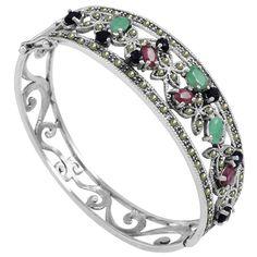 Bracelete de Prata Flores com Esmeraldas, Rubis e Safiras - 11614 | Bruna Tessaro Joias - brunatessaro