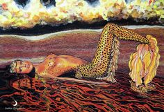 Leopard Mermaid Painting by Debbie Chamberlin