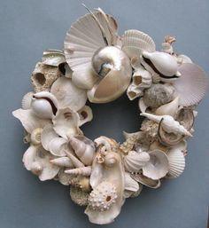 White Sea Shell Wreath on Etsy...