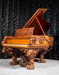 True Masterpiece The Antique Blasius & Sons Custom Carved Grand Piano The Antique Piano Shop
