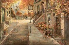 Brent Heighton Morning Walk Keilrahmen-Bild Leinwand Strassenszene Italien