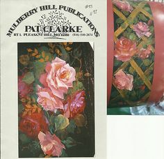 Burgundy Peach Roses Lattice Pat Clarke Decorative Tole Painting Pattern | eBay