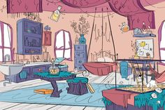 Margo and the Misfits - Zoe Persico Illustration Background Drawing, Cartoon Background, Animation Background, Comics Illustration, Art Tumblr, House Drawing, Bedroom Drawing, Environment Concept Art, Environment Design