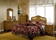 Discount West Indies 4 Piece Wicker Bedroom Set In Toffee Finish   Stix U0027Nu0027  Things