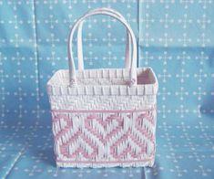 ハートあじろ : Blog Kamihimo Paper Basket, Weaving Patterns, Straw Bag, Handbags, Canvas, Bonsai, Creative, Blog, Crafts