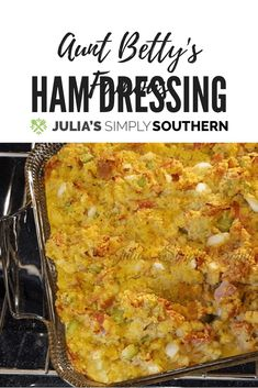 Ham Dressing Recipe: Ham dressing is the perfect side dish for your Easter dinner. It is my Aunt Betty's signature holiday recipe for family gatherings. Ham dressing is a delicious version of cornbread dressing to enjoy for your holiday meals. Potluck Recipes, Side Dish Recipes, Pork Recipes, Casserole Recipes, Side Dishes, Cooking Recipes, Bread Recipes, Easter Recipes, Turkey Recipes