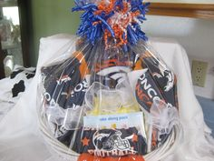 Denver broncos baby gift basket a blanket two washcloths, two burping cloths, onsey,