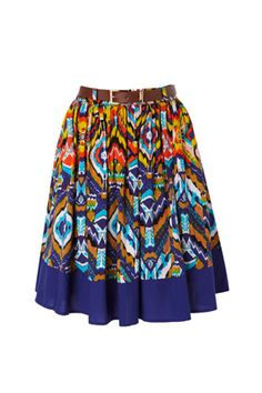 The full Blocked Ikat Skirt features a striking print with contrasting deep hem and soft pleats. The brown waistbelt with gold clasp will nip in your waist.