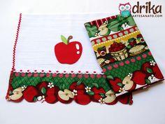 Pano de prato com maçã em patch aplique