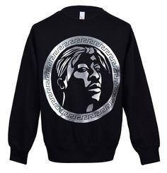 hip hop legend tupac shakur black crew neck sweatshirt by Mighteez