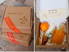 """diy drink boxes for groomsmen    """" i spotted these do-it-yourself gifts for guys over at the talented photographer victor sizemore's blog and i instantly thought of how wonderful it would be to give these as groomsmen gifts. these drink boxes are unique for each friend, and each has instructions and ingredients carefully packaged as well as their names hand stamped on the box top, sealed with a sticker."""""""