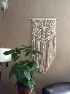 large macrame wall hanging, home decor wall art, macrame, metal