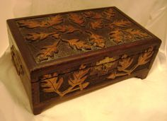 Old Antique Flemish Wooden Burnt Pyrography Jewelry Box Chest Leaves Acorns | eBay