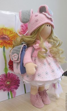 Купить Интерьерная куколка-малышка Виктория - бледно-розовый, кукла ручной…