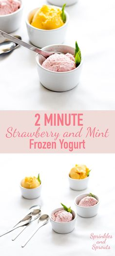 Rich and creamy strawberry frozen yoghurt with just a hint of mint. This is the best snack!!! And made in under 2 minutes!