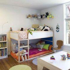 Reading corner on bottom bunk, sleep on top bunk #PrimroseReadingCorner