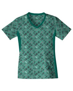 Cherokee Flexibles V-Neck Top - Plaid To Be Here