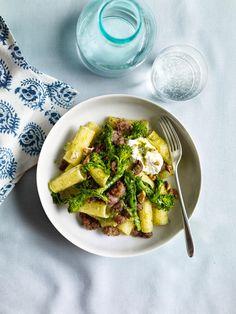 Pasta with Walnut Pesto, Sausage, and Broccoli Rabe Recipe