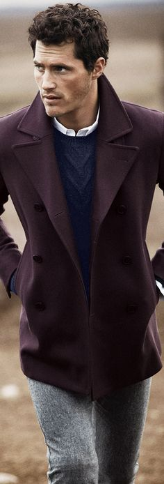 Theory Pea Coat, Merino Wool Sweater Suit. Winter clothing. For him. Men's Fashion. Style.