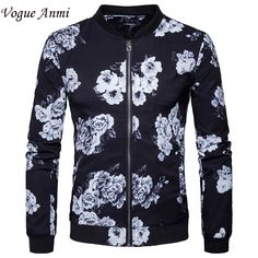 Vogue Anmi 2017 Spring Jacket Mens New Black Flower 3D Printed Fashion Jacket Men Slim Fit Mens Jackets And Coats Europe Size #Affiliate