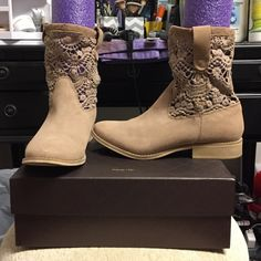 🤑 SALE 🤑 Crochet knit nude boot Crochet knit ankle booties. Worn once. Pool noodle placed in shoe to better show how they are worn. Size 8 but will best fit 8.5. You have to wear no socks or low socks to not be seen under crochet pattern. I am a 8 in heels and a 8.5 in flats and these run slightly more narrow but fit me. Shoes Ankle Boots & Booties