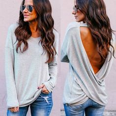 Long Sleeve Backless Top. Cheap FashionSweet FashionWomens ... a236a3d89f51