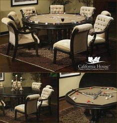 """Brookdale Poker Table by California House.(Proudly Custom Built to Order in the United States)  Available in 42"""", 48"""", 54"""", 60"""" or 66"""" Sizes.Optional Counter Height 36"""" or Pub Height 41"""" At http://gameroomfurnitureetc.com/pokertables.asp"""