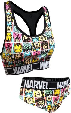 MJC Women's Marvel Comics Hero Favorites Bra and Panty Set (Large) Black - Best Seller List Bra And Underwear Sets, Women's Lingerie Sets, Bra And Panty Sets, Marvel Fashion, Punk Fashion, School Fashion, Lolita Fashion, Edgy Outfits, Cute Outfits