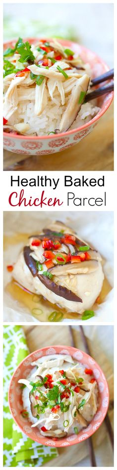 Chinese Chicken Parcels – easy and healthy chicken with soy sauce, ginger and garlic. Wrap the chicken with aluminum foil, bake and serve with rice | rasamalaysia.com