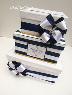 Nautical Wedding Card Box Beach Wedding by LaceyClaireDesigns