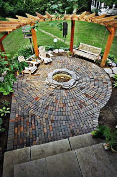 The Concrete Paver Patio Design with Pergola features large circular areas for outdoor dining and fire pit or seating. Layouts, how-to's & material list. Patio House Ideas, Backyard Patio Designs, Backyard Landscaping, Landscaping Ideas, Pergola Designs, Backyard Seating, Porch Ideas, Landscaping Borders, Stone Patio Designs