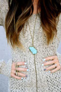 blue + gray nails