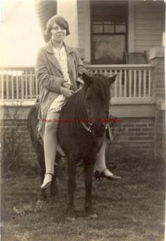REPRINT-of-Vintage-Photo-Young-Lady-on-Shetland-Pony-1920s Old Photos, Vintage Photos, Pony Rides, Pony Horse, Donkey, Young Women, 1920s, Vintage Ladies, Photographs