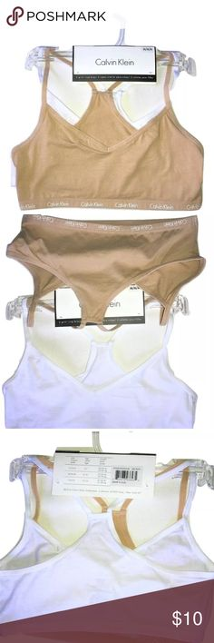 Two Girl's Calvin Klein Kids Soft Crop  Bras NEW Calvin Klein GIRL'S Soft Crop  Bras Racerback Beige & White SIZE Medium 8/10  I try my very best to capture the correct color/shade.  The actual shade may vary in person.  Soft stretch pull on bras Size M 8/10 95% Cotton, 5% Elastane  Thank you so much! Calvin Klein Other