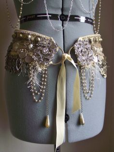 LOVE!  Custom Bellydance Belt - Tribal Fusion Belly Dance Vaudeville- Totally Decked Out, Performance Ready  ETSY $250.00