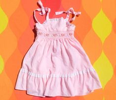 eec59bdffc18 vintage 80s girls dress POLLY FLINDERS sleeveless pink preppy tiered smocked  6 Small Vintage Baby Clothes