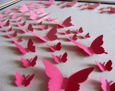 11x14 Ombre Pink 3D Butterfly Art or YOUR Colour Choices. Paper Butterfly Art, Wall Art, Nursery Decor. Made to Order