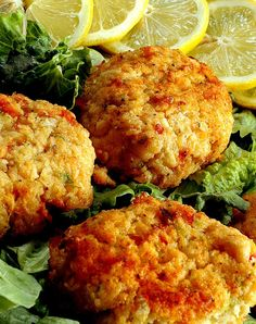 Crab Cakes: Easy, light recipe! There are only a few ingredients and not much to it. Make it lighter by using egg whites and light/FF mayo. Enjoy!