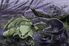 Three related Inostrancevia alexandri hunting a lone Scutosaurus by Mikhail Shekhanov