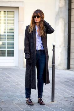Caroline De Maigret // bangs, wavy hair, long print coat, classic blue…